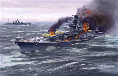 HMS Dorsetshire torpedoes the Bismarck